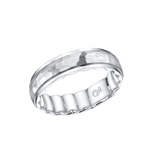 Gents Band with Hammered Center with Polished Edges Wesche Jewelers Melbourne, FL