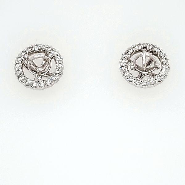 Diamond Round Shaped Halo Earring Jackets Wesche Jewelers Melbourne, FL