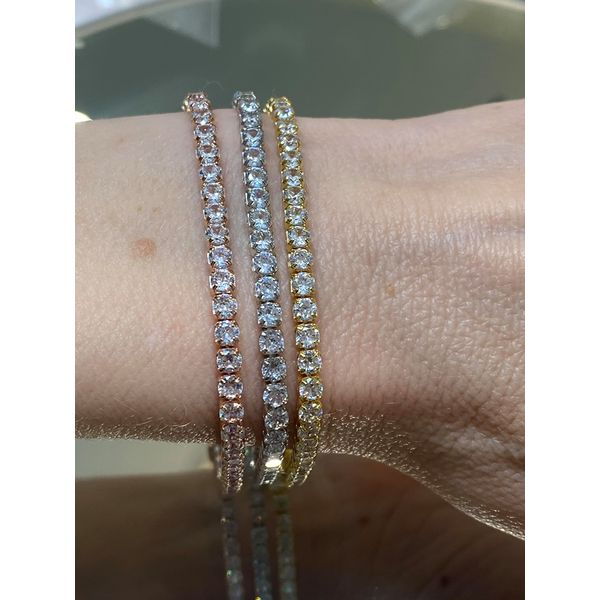 "Yellow Gold Tone Silver Simulated Diamond Line Bracelet 7.5"" Image 2 Your Jewelry Box Altoona, PA"