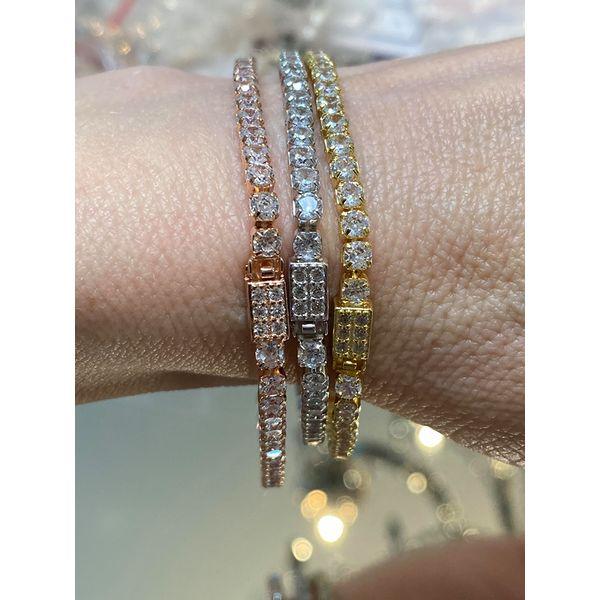 "Rose Gold Tone Silver Simulated Diamond Line Bracelet 7.5"" Your Jewelry Box Altoona, PA"